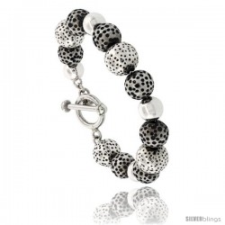 Sterling Silver Matte Finish Dotted & Plain Ball Bead Bracelet Toggle-clasp 8.5 in long