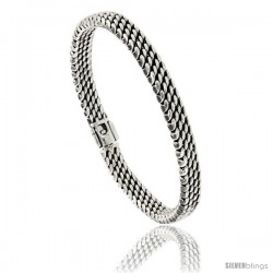 Sterling Silver Flat Tight Mesh Bracelet, 7mm wide with Fold Over Clasp 7 3/8 in long