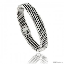 Sterling Silver Flat Tight Mesh Bracelet, 11mm wide with Fold Over Clasp 7 3/8 in long