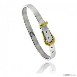 Sterling Silver & Brass Two Tone Belt Buckle Bangle Bracelet 1/4 in wide