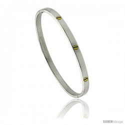 Sterling Silver and Brass Screw Head Bangle Bracelet 3/16 in wide