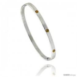 Sterling Silver with Brass Screw Heads Bangle Bracelet 3/16 in wide