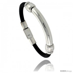 Sterling Silver w/ Leather Soft Bangle Bracelet for him & Her 7.3 mm 1/4 in wide
