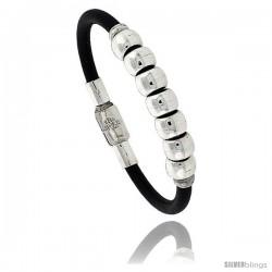 Sterling Silver w/ Leather Soft Bangle Bracelet 3/8 in wide, 8