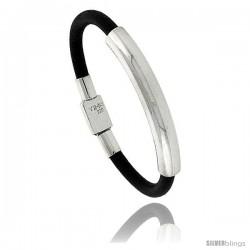 Sterling Silver w/ Leather Soft Bangle Bracelet 5/16 in wide, 7
