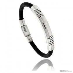 Sterling Silver w/ Leather Soft Bangle Bracelet 5/16 in wide, 8 -Style Xb513