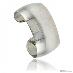 Sterling Silver High Polished Dome Cuff Bangle Bracelet for women 1 1/8 in wide