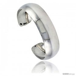 Sterling Silver High Polished Domed Cuff Bangle Bracelet 13/16 in wide