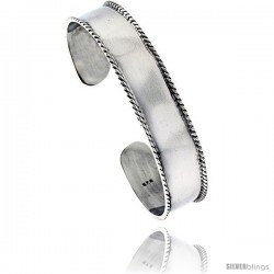 Sterling Silver Flat Cuff Bangle Bracelet with Rope Edge mm 1/2 in wide