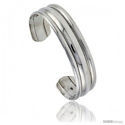 Sterling Silver Triple Domed Cuff Bangle Bracelet 9/16 in wide