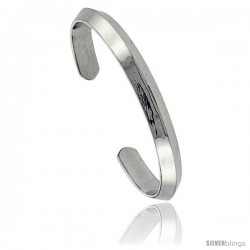 Sterling Silver Heavy Gauge Triangular Wire Cuff Bangle Bracelet 5/16 in wide