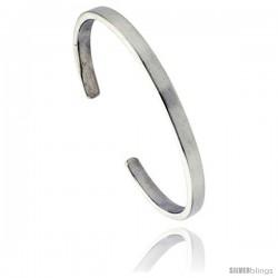 Sterling Silver Flat Wire Cuff Bangle Bracelet 1/4 in wide