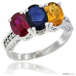 14K White Gold Natural Ruby, Blue Sapphire & Whisky Quartz Ring 3-Stone Oval 7x5 mm Diamond Accent