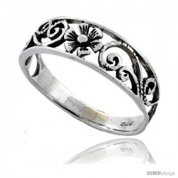 Sterling Silver Floral Vine Ring 1/4 in wide