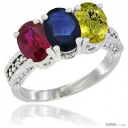 14K White Gold Natural Ruby, Blue Sapphire & Lemon Quartz Ring 3-Stone Oval 7x5 mm Diamond Accent