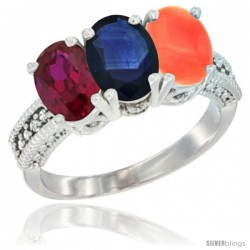 14K White Gold Natural Ruby, Blue Sapphire & Coral Ring 3-Stone Oval 7x5 mm Diamond Accent