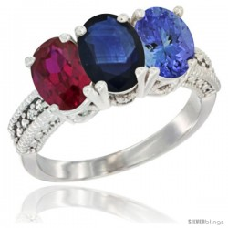 14K White Gold Natural Ruby, Blue Sapphire & Tanzanite Ring 3-Stone Oval 7x5 mm Diamond Accent