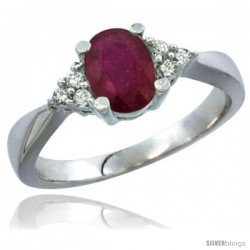 14k White Gold Ladies Natural Ruby Ring oval 7x5 Stone Diamond Accent -Style Cw414168