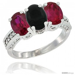 14K White Gold Natural Black Onyx & Ruby Sides Ring 3-Stone Oval 7x5 mm Diamond Accent