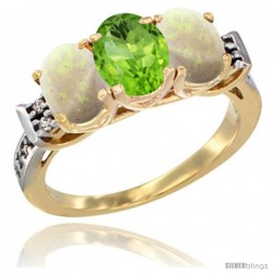 10K Yellow Gold Natural Peridot & Opal Sides Ring 3-Stone Oval 7x5 mm Diamond Accent