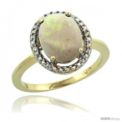 10k Yellow Gold Diamond Opal Ring 2.4 ct Oval Stone 10x8 mm, 1/2 in wide -Style Cy920114