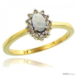 10k Yellow Gold Diamond Halo Opal Ring 0.25 ct Oval Stone 5x3 mm, 5/16 in wide