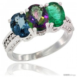 14K White Gold Natural London Blue Topaz, Mystic Topaz & Emerald Ring 3-Stone 7x5 mm Oval Diamond Accent