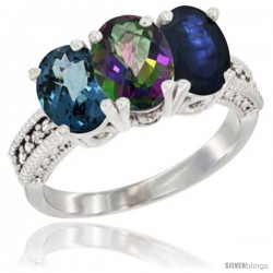 14K White Gold Natural London Blue Topaz, Mystic Topaz & Blue Sapphire Ring 3-Stone 7x5 mm Oval Diamond Accent