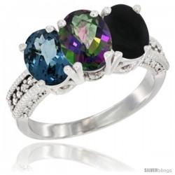 14K White Gold Natural London Blue Topaz, Mystic Topaz & Black Onyx Ring 3-Stone 7x5 mm Oval Diamond Accent
