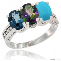 14K White Gold Natural London Blue Topaz, Mystic Topaz & Turquoise Ring 3-Stone 7x5 mm Oval Diamond Accent