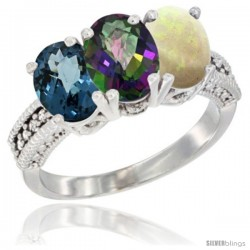 14K White Gold Natural London Blue Topaz, Mystic Topaz & Opal Ring 3-Stone 7x5 mm Oval Diamond Accent