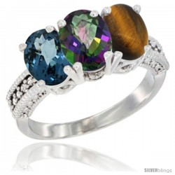 14K White Gold Natural London Blue Topaz, Mystic Topaz & Tiger Eye Ring 3-Stone 7x5 mm Oval Diamond Accent