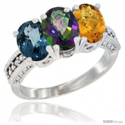 14K White Gold Natural London Blue Topaz, Mystic Topaz & Whisky Quartz Ring 3-Stone 7x5 mm Oval Diamond Accent