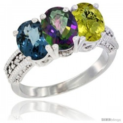 14K White Gold Natural London Blue Topaz, Mystic Topaz & Lemon Quartz Ring 3-Stone 7x5 mm Oval Diamond Accent