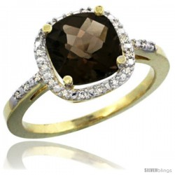 14k Yellow Gold Ladies Natural Smoky Topaz Ring Cushion-cut 3.8 ct. 8x8 Stone Diamond Accent