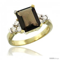 14k Yellow Gold Ladies Natural Smoky Topaz Ring Emerald-shape 9x7 Stone Diamond Accent