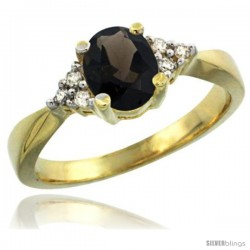 14k Yellow Gold Ladies Natural Smoky Topaz Ring oval 7x5 Stone Diamond Accent -Style Cy407168