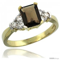 14k Yellow Gold Ladies Natural Smoky Topaz Ring Emerald-shape 7x5 Stone Diamond Accent
