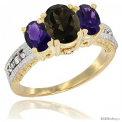 10K Yellow Gold Ladies Oval Natural Smoky Topaz 3-Stone Ring with Amethyst Sides Diamond Accent