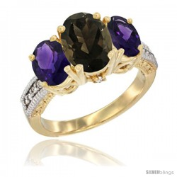 10K Yellow Gold Ladies 3-Stone Oval Natural Smoky Topaz Ring with Amethyst Sides Diamond Accent