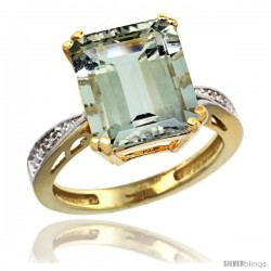 10k Yellow Gold Diamond Green-Amethyst Ring 5.83 ct Emerald Shape 12x10 Stone 1/2 in wide -Style Cy902149