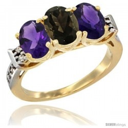 10K Yellow Gold Natural Smoky Topaz & Amethyst Sides Ring 3-Stone Oval 7x5 mm Diamond Accent