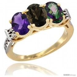 10K Yellow Gold Natural Amethyst, Smoky Topaz & Mystic Topaz Ring 3-Stone Oval 7x5 mm Diamond Accent