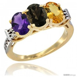 10K Yellow Gold Natural Amethyst, Smoky Topaz & Citrine Ring 3-Stone Oval 7x5 mm Diamond Accent