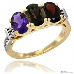 10K Yellow Gold Natural Amethyst, Smoky Topaz & Garnet Ring 3-Stone Oval 7x5 mm Diamond Accent