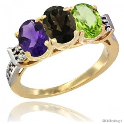 10K Yellow Gold Natural Amethyst, Smoky Topaz & Peridot Ring 3-Stone Oval 7x5 mm Diamond Accent
