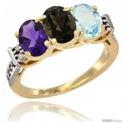 10K Yellow Gold Natural Amethyst, Smoky Topaz & Aquamarine Ring 3-Stone Oval 7x5 mm Diamond Accent