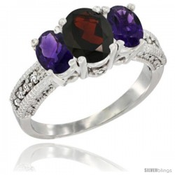 10K White Gold Ladies Oval Natural Garnet 3-Stone Ring with Amethyst Sides Diamond Accent