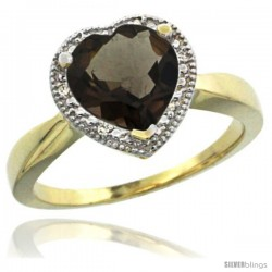 14k Yellow Gold Ladies Natural Smoky Topaz Ring Heart-shape 8x8 Stone Diamond Accent