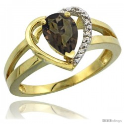 14k Yellow Gold Ladies Natural Smoky Topaz Ring Heart-shape 5 mm Stone Diamond Accent